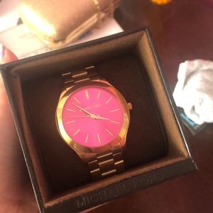 Never Used Gold Michael Kors Pink Faced Watch